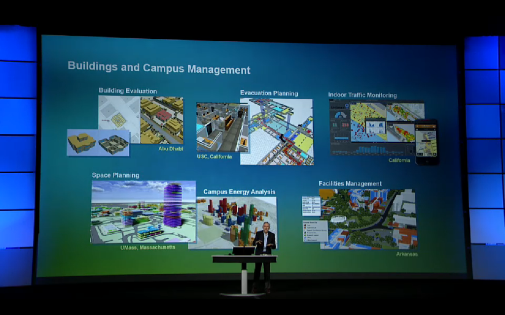 Esri CEO Jack Dangermond discussing the use of GIS in  building and campus management at the most recent User Conference.