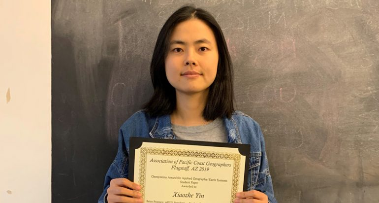 Ph.D. Student Xiaozhe Yin wins the 2019 APCG Geosystems Award